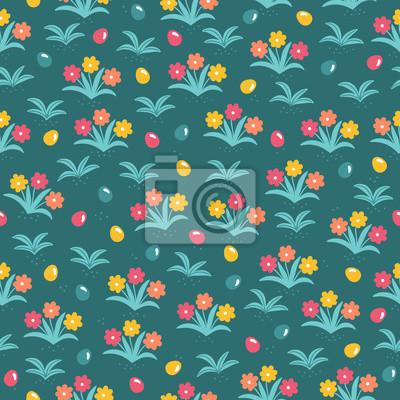 Wielkanocny bezszwowy wzór z jajkami i kwiatami na zielonym tle