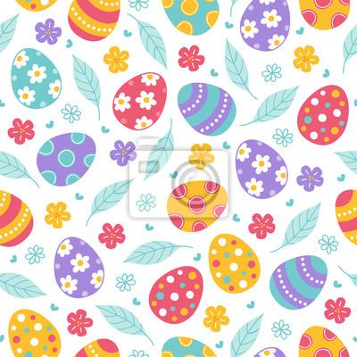 Wielkanocny bezszwowy wzór z liśćmi, kwiatami i kolorowymi jajkami ,.
