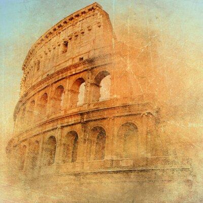 Obraz wielki antyczny Rzym - Coloseum, grafika w stylu retro