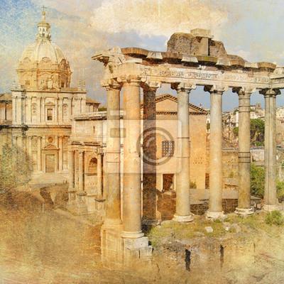 wielki antyczny Rzym - Forum, grafika w stylu retro