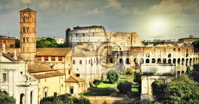 Wielki Rzym, widok na Koloseum i Forum