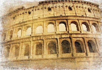 Obraz Wielki zabytków włoski - Colosseum, vintage, obrazek