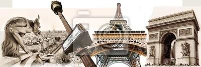 wielkie paryskie zabytki - turystyka kolaż