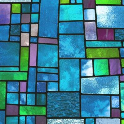 Obraz Wielobarwny barwiona na niebiesko szyba, kwadratowy format