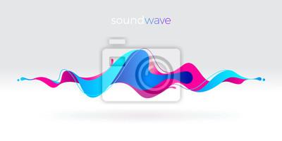 Obraz Wielobarwny streszczenie fali dźwiękowej płynu. Ilustracji wektorowych.