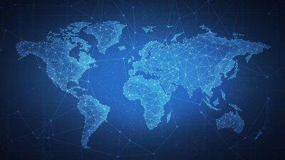 Obraz Wielobok światowa mapa z blockchain technologią ono przygląda się rówieśnik sieć na błękitnym tle. Sieć, biznes p2p, e-commerce, handel bitcoinami i koncepcja globalnej kryptowaluty biznesowej blockch