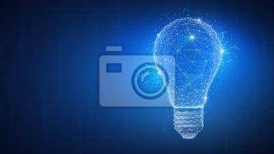 Obraz Wieloboka pomysłu żarówka na blockchain technologii sieci hud tle. Globalna koncepcja biznesowa blockchain kryptowaluty biznesu. Lampa symbolizuje inspirację, innowacje, wynalazek, skuteczne myślenie