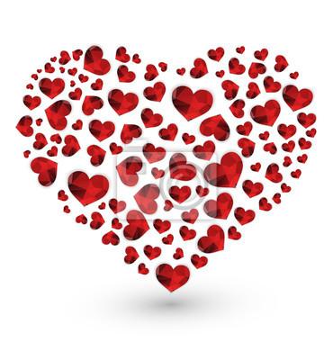 Wielokąta geometryczne czerwone serca z sercem