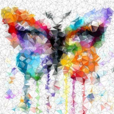 Obraz wielokolorowy jasny motyl abstrakcyjne geometryczne tle
