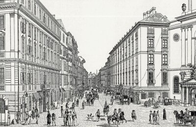 Obraz Wien, Kohlmarkt w 18 wieku., Szablon miedziorytu