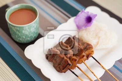 Wieprzowina z grilla, stek wieprzowy, Grill Wieprzowina z ryżem i gorące mleko T