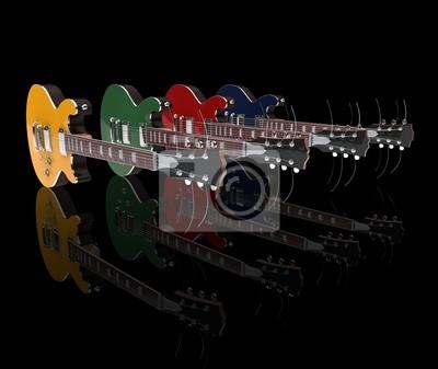 Obraz Gitara Elektryczna W Sprawie Na Wymiar Czerwony