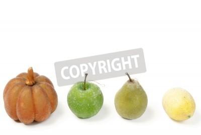 Wiersz Sztucznego Owoców Dyni Jabłka Gruszki I Cytryny Odizolowane Obrazy Redro