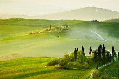 Obraz Wieś, San Quirico'Orcia, Toskania, Włochy