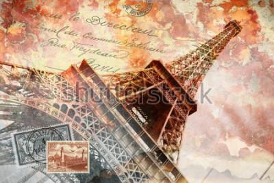 Obraz Wieża Eiffla Paryż, streszczenie sztuka cyfrowa, pocztówka