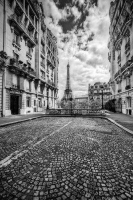 Obraz Wieża Eiffla widać z ulicy w Paryżu, we Francji. Czarny i biały