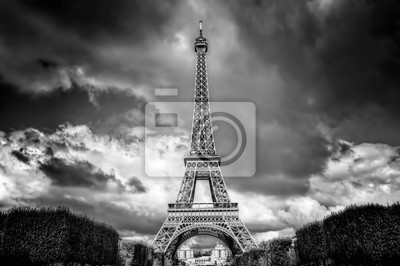 Wieża Eiffla widziana z parku Champ de Mars w Paryżu, we Francji. Czarny i biały