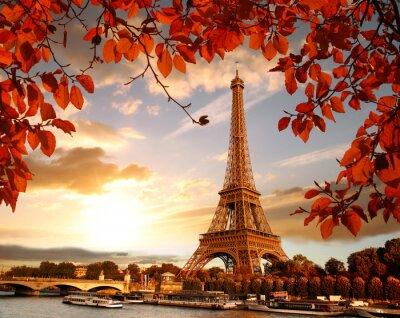 Obraz Wieża Eiffla z liści jesienią w Paryżu, Francja