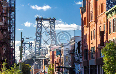 Williamsburg Bridge Street Scene w Brooklyn, Nowy Jork