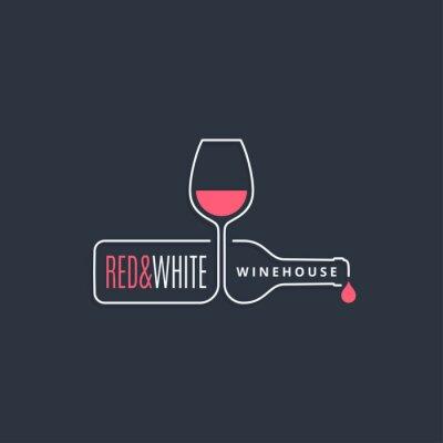 Obraz wine bottle with wine glass line icon on black