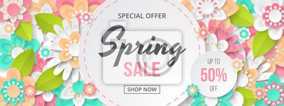 Obraz Wiosenna wyprzedaż transparent z pięknym kolorowym kwiatem. Może być stosowany do szablonów, banerów, tapet, ulotek, zaproszeń, plakatów, broszur, zniżek kuponowych. Ilustracji wektorowych