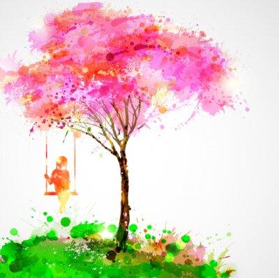 Obraz Wiosną kwitnące drzewo. Dreaming dziewczyna na huśtawce.