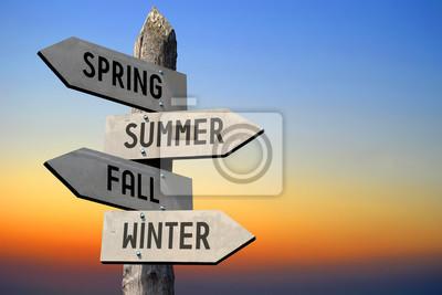 Obraz Wiosna, lato, jesień, zima Drogowskaz