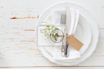 Obraz Wiosna ustawienie tabeli z białych kwiatów