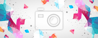 Obraz Wireframe background with plexus effect. Futuristic vector illustration.