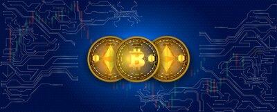 Wirtualne symbole monety bitcoin i ethereum na tle obwodów elektronicznych. Krypto waluta.