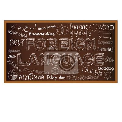 Obraz Witaj w różnych językach. Deskę kredą symbole na doodle