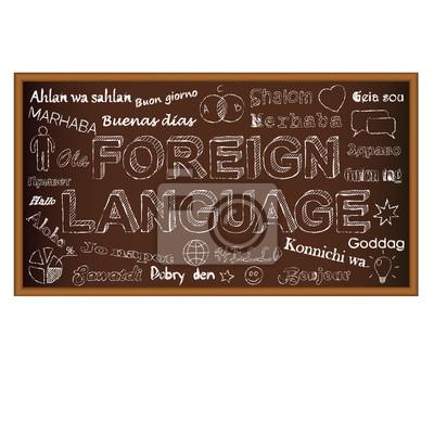Witaj w różnych językach. Kreda deska doodle z symboli