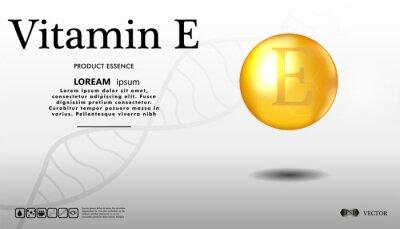 Witamina E złoty brokat ikonę na białym tle. 3d ilustracja witaminy kropli pigułki kapsuła. Błyszcząca złota kropla esencji. Ilustracji wektorowych.