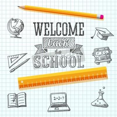 Obraz Witamy z powrotem do wiadomości szkoły na papierze z rysunkami - świecie, notebooki, tekst książki, kasztana, autobusem, nauki żarówki, ołówek, linijka Vector