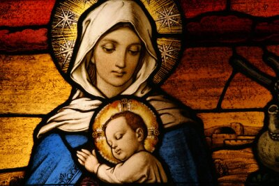 Obraz Witraż przedstawiający Marię Dziewicę Jezus posiadania dziecka