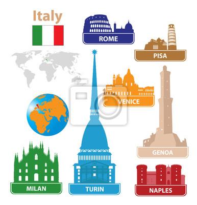 Włochy . Sylwetki miasto