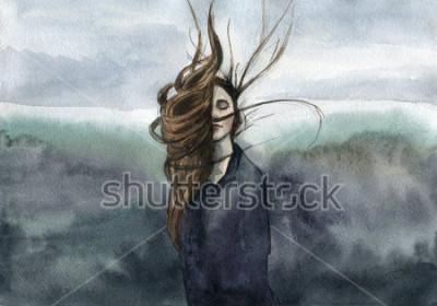 Obraz włosy falujące na wietrze, dziewczyna, nastrojowa akwarela