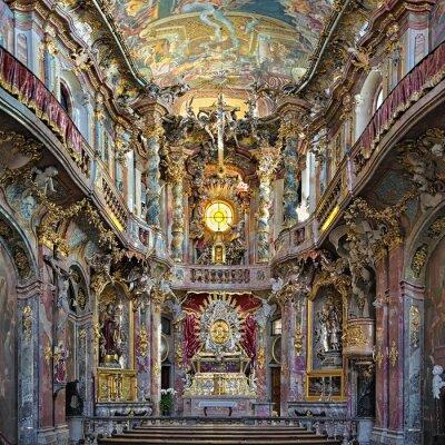 Obraz Wnętrze Asamkirche w Monachium, Niemcy. Kościół został zbudowany w 1733-1746 i jest uważany za jeden z najważniejszych budynków głównych przedstawicieli południowych Niemiec późnobarokowym