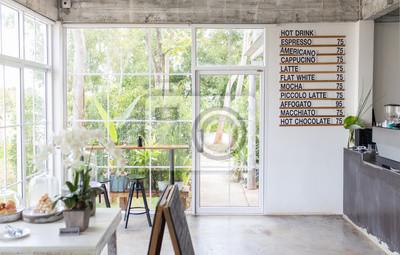 Obraz Wnętrze kawiarni z listą picia.