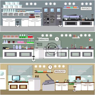 Wnętrze laboratorium nauki. Koncepcja edukacji biologii, fizyki i chemii.