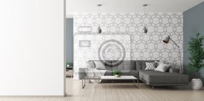 Obraz Wnętrze salonu z renderowaniem kanapy