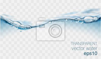 Obraz Wodna fala wektor przezroczysta powierzchnia z bąbelkami powietrza
