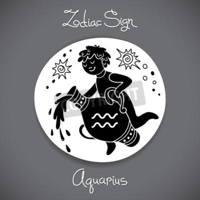 Obraz Znak Zodiaku Wodnik Horoskop Tatuaż Vintage Znaczek