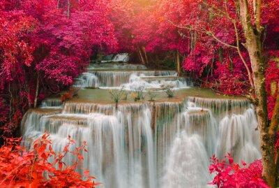 Obraz Wodospad w głębokim lasów tropikalnych dżungli (Huay Mae kamień wodospad i