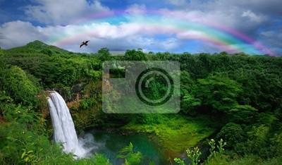 Obraz Wodospad w Kauai z tęczy i napowietrznych Ptak