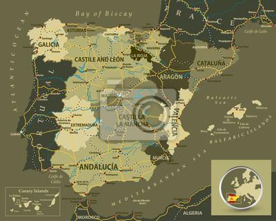 Wojskowy kolor mapa Hiszpanii