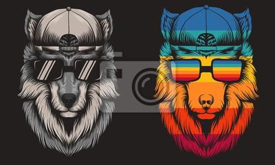 Obraz Wolf cool Retro vector illustration