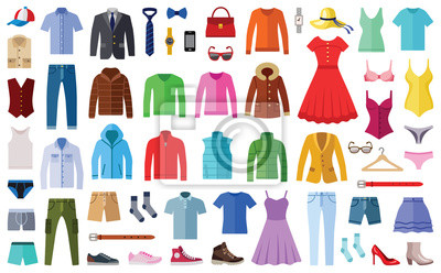 Obraz Woman and man clothes and accessories collection - fashion wardrobe - vector color illustration