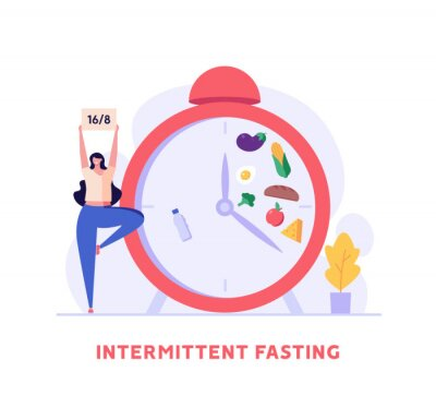 Obraz Woman goes in for sports, yoga posture. Concept of fasting, intermittent fasting, diet, diet plan, proper nutrition, dream figure, fitness, healthy food. Vector illustration in flat design