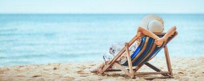 Obraz Woman on beach in summer